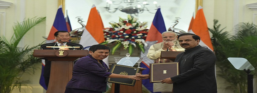 The Prime Minister, Shri Narendra Modi and the Prime Minister of the Cambodia, Mr. Samdech Akka Moha...