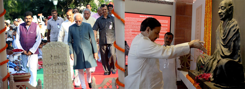 Vice President of India paying homage on Gandhi Jayanti  and Hon'ble Minister paying homage to Bapu at the newly installed exhibition at Gandhi Smriti