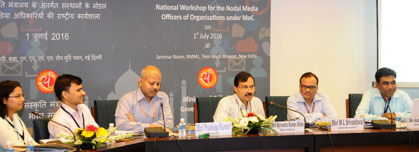 The Secretary, Ministry of Culture, Shri N.K. Sinha delivering the inaugural address at a National W...